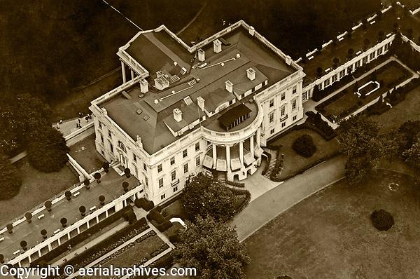 historical aerial photograph White House, Washington, DC
