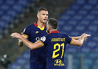 Football, Serie A: AS Roma - Hellas Verona Fc, Olympic stadium, Rome, July 15, 2020. <br /> Roma's Jordan Veretout (r) celebrates with his captain Edin Dzeko (l) after scoring during the Italian Serie A football match between Roma and Hellas Verona at Rome's Olympic stadium, on July 15, 2020. <br /> UPDATE IMAGES PRESS/Isabella Bonotto