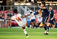 WASHINGTON, DC - SEPTEMBER 6: Virginia forward Kaya Ignacio (13) and Maryland forward Joshua Bolma (14) clash during a game between University of Virginia and University of Maryland at Audi Field on September 6, 2021 in Washington, DC.