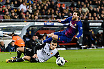Andreas Pereira of Valencia CF (L) trips up with Lionel Messi of FC Barcelona (R) during the Copa Del Rey 2017-18 match between FC Barcelona and Valencia CF at Camp Nou Stadium on 01 February 2018 in Barcelona, Spain. Photo by Vicens Gimenez / Power Sport Images