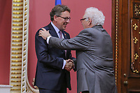 Jean D'Amour is sworn in as Ministre delegue aux Affaires maritimes (Minister for Maritime Affairs) of the new Liberal cabinet at the National Assembly in Quebec city October 11, 2017.<br /> <br /> PHOTO :  Francis Vachon - Agence Quebec Presse