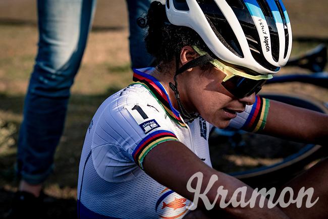 cx world champion Ceylin del Carmen Alvarado (NED/Alpecin-Fenix) after finishing<br /> <br /> UEC Cyclocross European Championships 2020 - 's-Hertogenbosch (NED)<br /> <br /> Elite Women's Race<br /> <br /> ©kramon
