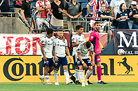 FOXBOROUGH, MA - AUGUST 18: Paul Arriola #7 of D.C. United celebrates his goal with teammates during a game between D.C. United and New England Revolution at Gillette Stadium on August 18, 2021 in Foxborough, Massachusetts.