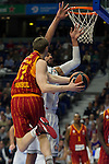 Real Madrid´s Gustavo Ayon and Galatasaray´s Pocius during 2014-15 Euroleague Basketball match between Real Madrid and Galatasaray at Palacio de los Deportes stadium in Madrid, Spain. January 08, 2015. (ALTERPHOTOS/Luis Fernandez)