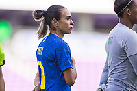 ORLANDO, FL - FEBRUARY 24: Marta #10 of Brazil stands for the national anthem before a game between Brazil and Canada at Exploria Stadium on February 24, 2021 in Orlando, Florida.
