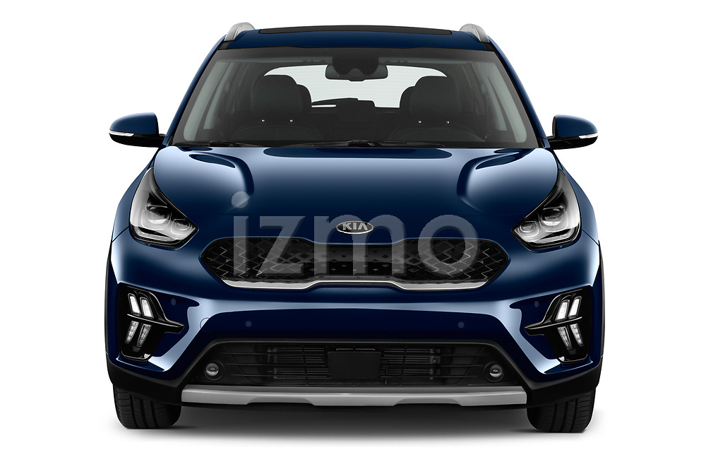 Car photography straight front view of a 2020 KIA Niro-phev Sense 5 Door SUV Front View