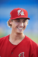 Palm Beach Cardinals pitcher Luke Weaver (5) talks with fans after the first game of a doubleheader against the Dunedin Blue Jays on July 31, 2015 at Florida Auto Exchange Stadium in Dunedin, Florida.  Dunedin defeated Palm Beach 7-0.  (Mike Janes/Four Seam Images)
