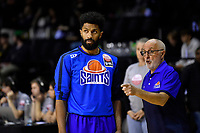 Dion Prewster of the Wellington Saints looks on   before the round two NBL match between the Wellington Saints and the Southland Sharks at TSB Bank Arena, Wellington, New Zealand on Friday 7 May 2021.<br /> Photo by Masanori Udagawa. <br /> www.photowellington.photoshelter.com