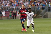 East Hartford, CT - Saturday July 01, 2017: Ebenezer Ofori, Jordan Morris during an international friendly match between the men's national teams of the United States (USA) and Ghana (GHA) at Pratt & Whitney Stadium at Rentschler Field.