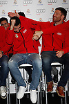Real Madrid player Raul Albiol (l) and Xabi Alonso participate and receive new Audi during the presentation of Real Madrid's new cars made by Audi at the Jarama racetrack on November 8, 2012 in Madrid, Spain.(ALTERPHOTOS/Harry S. Stamper)