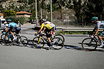 Race leader Yellow Jersey Primoz Roglic (SLO) back to the peloton after crashing twice during Stage 8 of Paris-Nice 2021, running 92.7km from Le Plan-du-Var to Levens, France. 14th March 2021.<br /> Picture: ASO/Fabien Boukla | Cyclefile<br /> <br /> All photos usage must carry mandatory copyright credit (© Cyclefile | ASO/Fabien Boukla)