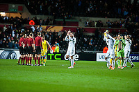 Swansea, UK. Thursday 20 February 2014<br /> Pictured: Angel Rangel applauds the Swansea fans<br /> Re: UEFA Europa League, Swansea City FC v SSC Napoli at the Liberty Stadium, south Wales, UK