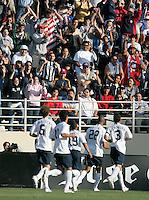 The USA team celebrates Oguchi Onyewu's goal. The USA defeated China, 4-1, in an international friendly at Spartan Stadium, San Jose, CA on June 2, 2007.