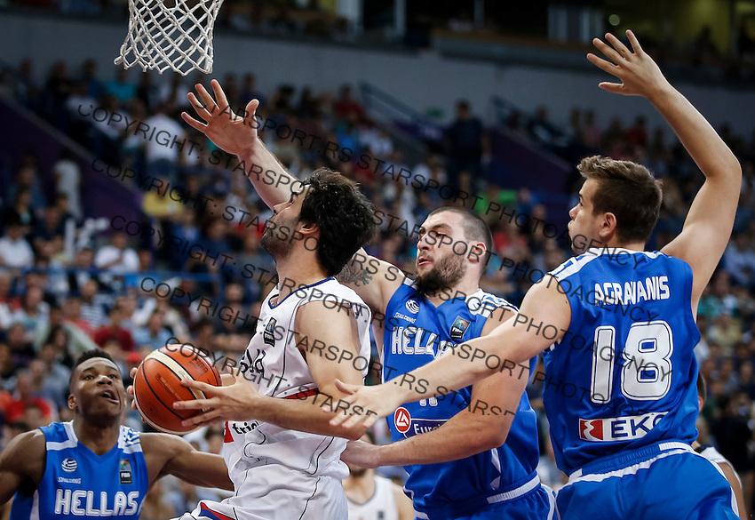 Kosarka-Basketball<br /> Srbija v Grcka-Prijateljski Mec<br /> Milos Teodosic (L) and Dimitris Agravanis<br /> Beograd, 28.06.2016.<br /> foto: Srdjan Stevanovic/Starsportphoto ©