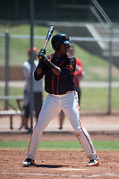 San Francisco Giants Black center fielder Alexander Canario (14) at bat during an Extended Spring Training game against the Los Angeles Angels at the San Francisco Giants Training Complex on May 25, 2018 in Scottsdale, Arizona. (Zachary Lucy/Four Seam Images)