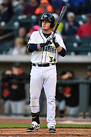 First Baseman Dash Winningham (34) of the Columbia Fireflies bats in a game against the Augusta GreenJackets on Opening Day, Thursday, April 6, 2017, at Spirit Communications Park in Columbia, South Carolina. Columbia won, 14-7. (Tom Priddy/Four Seam Images)