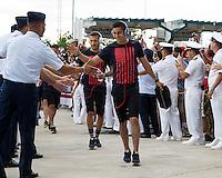 Jacksonville, Florida - Saturday, June 7, 2014: The US Men's National team arrives at EverBank Field.
