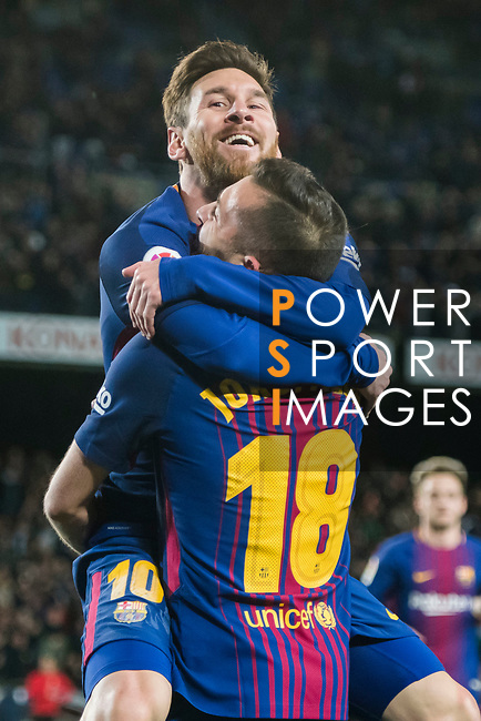 Lionel Andres Messi of FC Barcelona celebrates his second goal with teammate Jordi Alba Ramos during the Copa Del Rey 2017-18 Round of 16 (2nd leg) match between FC Barcelona and RC Celta de Vigo at Camp Nou on 11 January 2018 in Barcelona, Spain. Photo by Vicens Gimenez / Power Sport Images