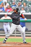 Birmingham Barons left fielder Luis Basabe (3) awaits a pitch during a game against the Tennessee Smokies at Smokies Stadium on May 15, 2019 in Kodak, Tennessee. The Smokies defeated the Barons 7-3. (Tony Farlow/Four Seam Images)