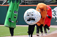 Buffalo Bisons on field promotion race featuring celery, blue cheese, chicken wing, and hot wing during a game against the Columbus Clippers at Coca-Cola Field on May 31, 2012 in Buffalo, New York.  Columbus defeated Buffalo 3-0.  (Mike Janes/Four Seam Images)