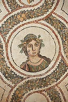 Picture of a Roman mosaics design depicting one of the Four Seasons, from the ancient Roman city of Thysdrus. 3rd century AD. El Djem Archaeological Museum, El Djem, Tunisia.