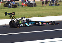 Apr 14, 2019; Baytown, TX, USA; NHRA top fuel driver Scott Palmer during the Springnationals at Houston Raceway Park. Mandatory Credit: Mark J. Rebilas-USA TODAY Sports