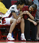 """(RU WOMENS BASKETBALL)--On Sun Dec 28,2003-ruwomen1228D--32301-Rutgers #32 (LEFT)-gets her """"props"""" from head coach C. Vivian Stringer (right)-as Newton was the high scorer as Rutgers beat Old Dominion at the Louis Brown Athletic Center in Piscataway. (MARK R. SULLIVAN/HNT CHIEF PHOTOGRAPHER)"""