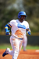 South Dakota State Jackrabbits first baseman Josh Kutzke (25) running the bases during a game against the FIU Panthers on February 23, 2019 at North Charlotte Regional Park in Port Charlotte, Florida.  South Dakota State defeated FIU 4-3.  (Mike Janes/Four Seam Images)
