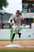 Hudson Valley Renegades catcher Jose Rojas (5) running the bases during a game against the Batavia Muckdogs on July 31, 2016 at Dwyer Stadium in Batavia, New York.  Hudson Valley defeated Batavia 4-1.  (Mike Janes/Four Seam Images)