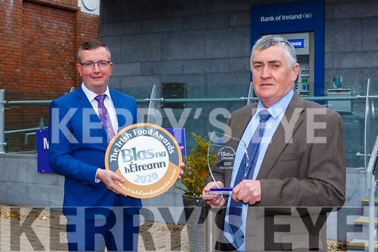 Jerry Kennedy Kennedys Butchers  Dingle who won Best in Kerry at the Blas na hEireann awards with Hugh Glesson manager of BAnk Of Ireland Killarney branch on Monday