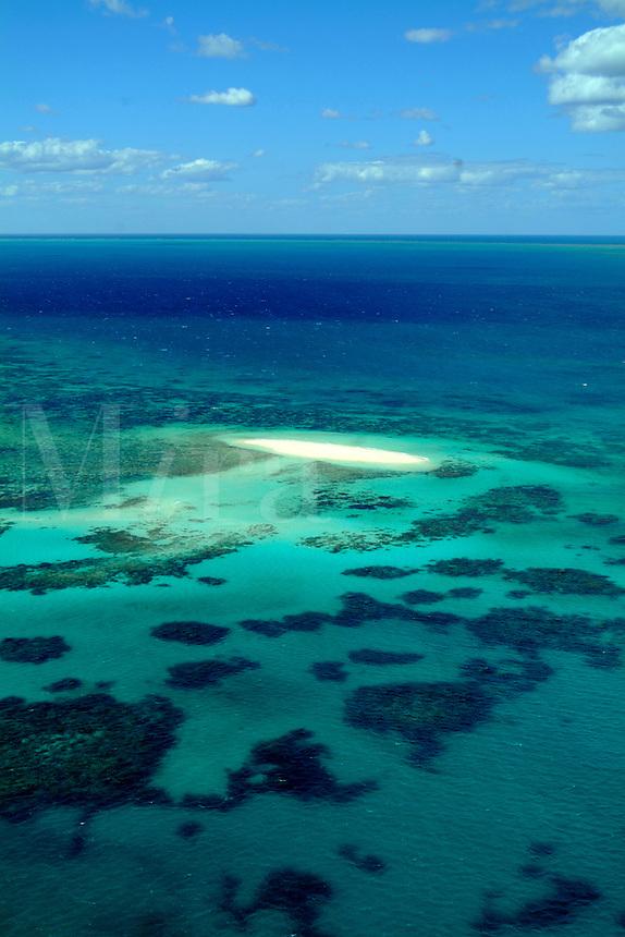 Aerial scene of Great Barrier Reef near Cairns Queensland Australia