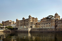 The CITY PALACE of UDAIPUR was originally built by Maharaja Udai Singh ll in 1600 AD and added onto by later Maharajas - RAJASTHAN, INDIA