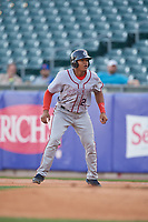 Syracuse Chiefs catcher Pedro Severino (29) leads off during a game against the Buffalo Bisons on May 18, 2017 at Coca-Cola Field in Buffalo, New York.  Buffalo defeated Syracuse 4-3.  (Mike Janes/Four Seam Images)