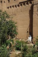 Near Skoura, Morocco - Interior Courtyard of the Kasbah Ameridhil, with Caretaker Aziz.