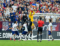 NASHVILLE, TN - SEPTEMBER 5: Matt Turner #1 of the United States makes a save during a game between Canada and USMNT at Nissan Stadium on September 5, 2021 in Nashville, Tennessee.