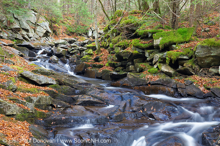 Whitcher Brook in Benton, New Hampshire during the autumn months.