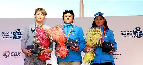 Rocco Wright (left) takes Silver in the 401-boat Optimist fleet at the Euromarina Cup in Alicante in February