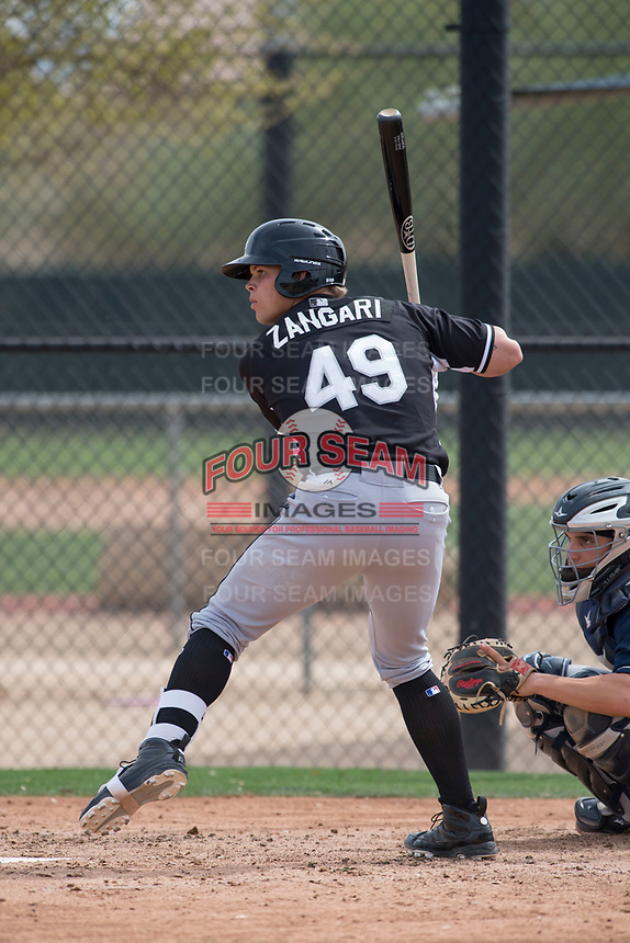 Chicago White Sox first baseman Corey Zangari (49) during a Minor League Spring Training game against the Chicago White Sox at Camelback Ranch on March 16, 2018 in Glendale, Arizona. (Zachary Lucy/Four Seam Images)