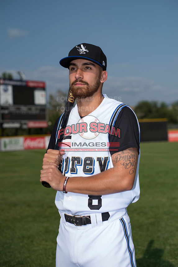 Missoula Osprey catcher Nick Dalesandro (8) poses for a photo prior to a Pioneer League game against the Grand Junction Rockies at Ogren Park Allegiance Field on August 21, 2018 in Missoula, Montana. The Missoula Osprey defeated the Grand Junction Rockies by a score of 2-1. (Zachary Lucy/Four Seam Images)