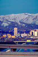 Skyline of Salt Lake City, Utah with Wasatch Mountains in the background. cityscape, urban design. Salt Lake City Utah.