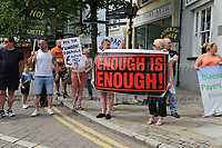 "Some local people hold a protest at the Council tax rate during ""The Bevan Festival"" celebrating the 70th Anniversary of the National Health Service. <br /> <br /> Tredegar, South Wales, Sunday 1st July 2018 <br /> <br /> <br /> Jeff Thomas Photography -  www.jaypics.photoshelter.com - <br /> e-mail swansea1001@hotmail.co.uk -<br /> Mob: 07837 386244 -"