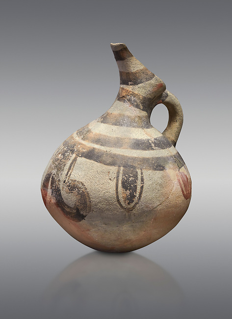 Cycladic beak spouted jug with 'melian' painted motifs.  Early Cycladic III (2300-2000 BC) , Phylakopi I, Melos. National Archaeological Museum Athens. Cat No 5725-6.  Grey background.