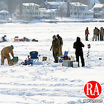 WINSTED, CT, 23 JANUARY 2011-012311JS01--Hundreds of die-hard ice fishermen braved Sunday's cold and windy weather to participate in the 18th annual American Legion Color Guard Ice Fishing Derby on Highland Lake in Winsted. <br /> Jim Shannon Republican-American