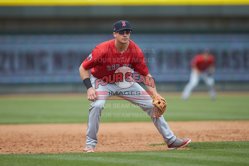 Salem Red Sox third baseman Bobby Dalbec (29) on defense against the Winston-Salem Dash at BB&T Ballpark on April 22, 2018 in Winston-Salem, North Carolina.  The Red Sox defeated the Dash 6-4 in 10 innings.  (Brian Westerholt/Four Seam Images)