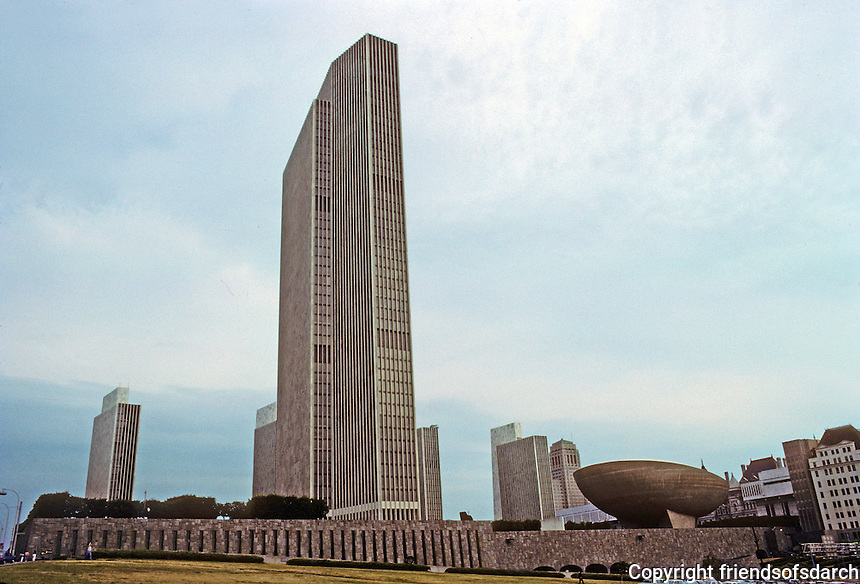 """Albany: Empire State Plaza from East Side. To left, Erastus Corning Tower Building; to right, the """"Meeting Center"""", better known as The Egg.  Photo '88."""