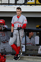 Greeneville Reds outfielder Mike Siani (34) on deck before a game against the Burlington Royals at the Burlington Athletic Complex on July 7, 2018 in Burlington, North Carolina. It was the first professional game for Siani after signing with Cincinnati. Burlington defeated Greeneville 2-1. (Robert Gurganus/Four Seam Images)