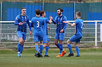 Anthony Martin of Redbridge scores the first goal for his team and celebrates with his team mates during Redbridge vs Clapton, Len Cordell Memorial Cup Football at Oakside Stadium on 10th April 2021