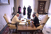 Pope Francis with Georgia's President Giorgi Margvelashvili   during a private audience in the pontiff's studio at the Vatican on April 10, 2015.