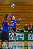 1 November 2015: Yeshiva University Maccabee Outside Hitter, Setter, and team co-Captain Shana Wolfstein, a Senior from Burlington, VT, hits one during game action against the Old Westbury Panthers at SUNY Old Westbury in Old Westbury, NY. The Panthers edged out the Maccabees 3-2 in NCAA women's volleyball, Skyline Conference play. Mandatory Credit: Ed Wolfstein Photo *** RAW (NEF) Image File Available ***
