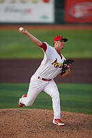 Johnson City Cardinals relief pitcher Parker Kelly (13) delivers a pitch during a game against the Danville Braves on July 29, 2018 at TVA Credit Union Ballpark in Johnson City, Tennessee.  Johnson City defeated Danville 8-1.  (Mike Janes/Four Seam Images)